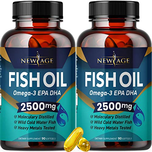 Omega 3 Fish Oil 2500mg Supplement by New Age  2 Pack – Immune amp Heart Support – Promotes Joint Eye Brain amp Skin Health  Non GMO 180 Softgels  EPA DHA Fatty Acids Gluten Free