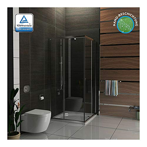 Alpenberger - Cabina de ducha para esquina de 80 x 80 x 190 cm con 2 puertas correderas, cabina de ducha de esquina de vidrio templado con certificación TÜV, alta estanqueidad gracias al marco completo, protección contra salpicaduras máxima, ahorro de espacio