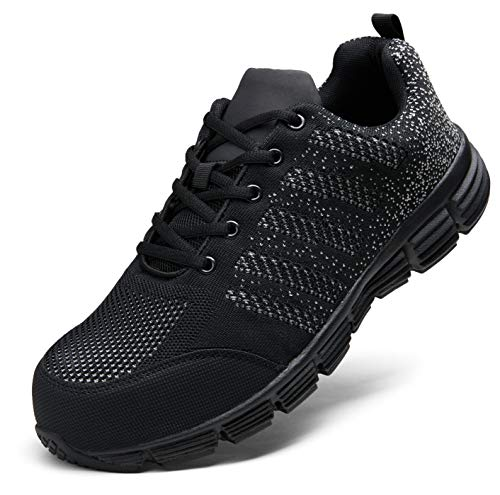 JOUSEN Men's Work Shoes Lightweight Indestructible Composite Toe Safety Shoes Breathable Industrial Construction Shoes Casual Working Sneakers (AMY135 Black 13)