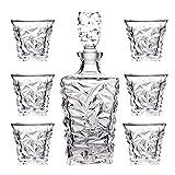 SuDeLLong Whiskygläser und Dekanter-Set, Kristallkaraffe mit Glasstopfen (850 ml) und 6...