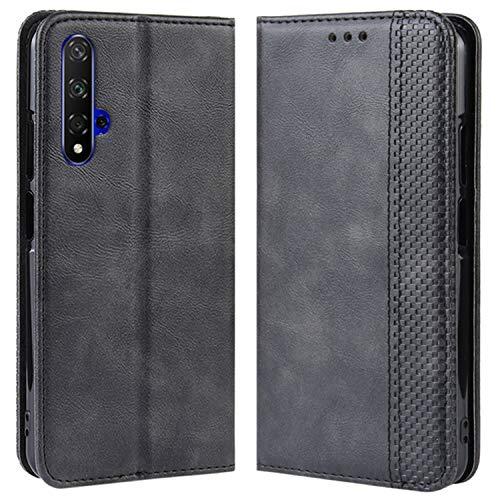 HualuBro Handyhülle für Huawei Nova 5T Hülle, Retro Leder Brieftasche Tasche Schutzhülle Handytasche LederHülle Flip Hülle Cover für Huawei Nova 5T 2019 - Schwarz