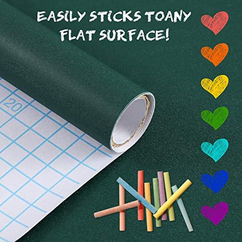 Papel pizarra adhesivo-45x200cm Pegatina de pared borrable reutilizable con 10 tizas gratis para la escuela/oficina/casa (Verde)