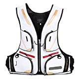 Fishing Vest with Multiple Pockets, Breathable Mesh Fishing Clothes Waterproof Life Jacket for Adults Men and Women,White,XXL