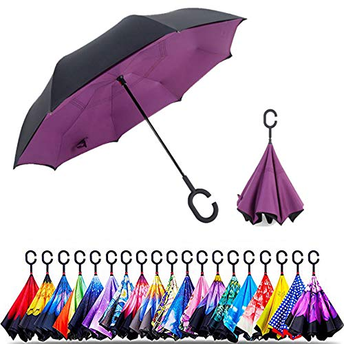 Originele aanbiedingen Omgekeerde Binnenste Umbrella | Dubbele laag Omgekeerde UV-bescherming Unieke Winddichte Paraplu | Omgekeerde Open Vouwparaplu's met C-haak om op punten te hangen