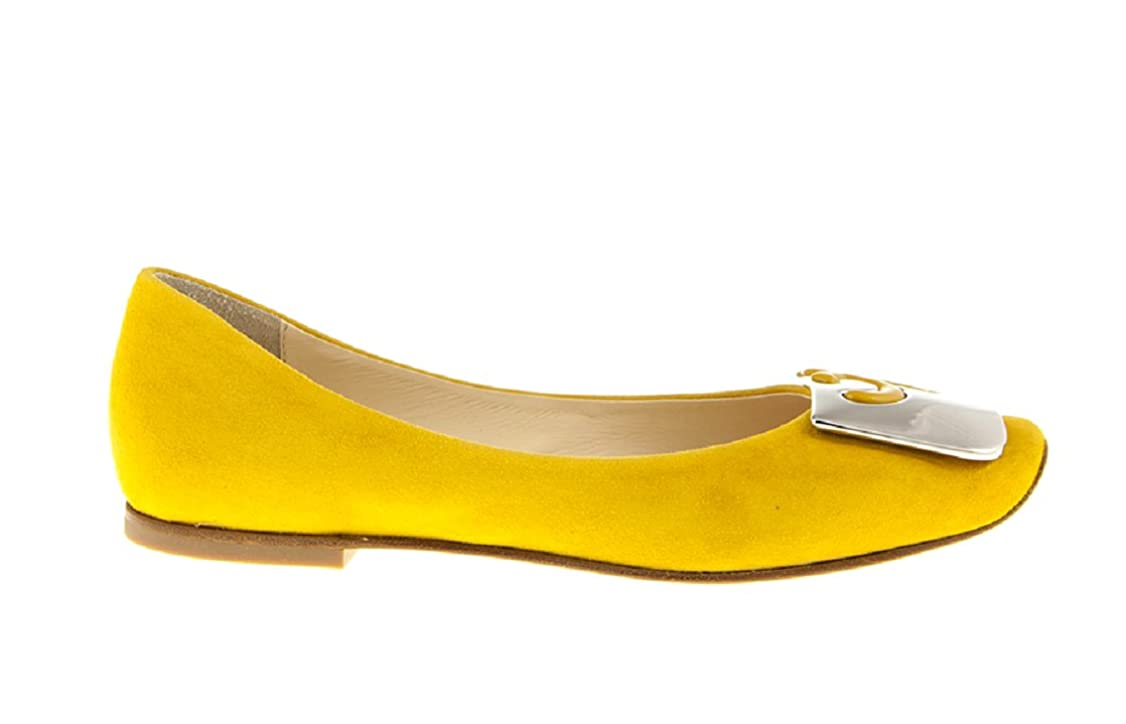 予算熟読する提案6032 Fabi Yellow Suede Flats Italian Designer Women Shoes