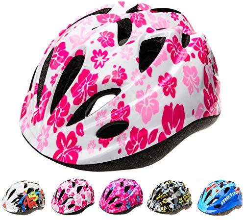 meteor Casco Bici ideale per bambini e adolescenti Caschi perfetto per Downhill Enduro Ciclismo MTB Scooter Helmet Ideale per Tutte Le Forme di attività in Bicicletta Helmo HB-6-5 (M (52-56 cm), FLOWERS)