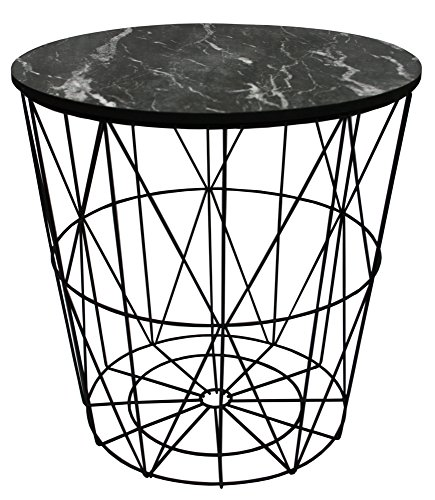 marymarygardens Metal Wire Small Bedside, Occasional, Lamp Table Lift Off Marble Design Lid