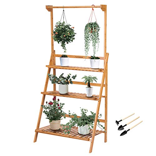 VIVOSUN 3 Tier Bamboo Hanging Plant Stand Foldable Planter Shelves Flower Pot Organizer Storage Rack Display Shelving Plants Shelf Holder for Patio Garden Balcony Indoor Outdoor