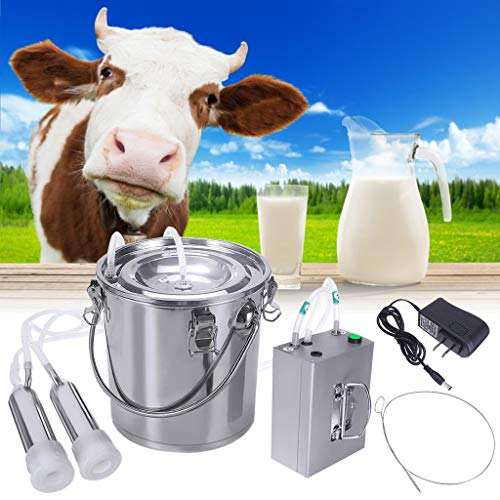 Milking Machine for Goats Cows, 14L/7L Electric Milking Supplies W/Stainless Steel Bucket, Stainless Steel Vacuum Pump Milker for Farm (for Cows, 7L)