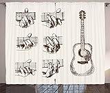 ABAKUHAUS Guitarra Cortinas, Boceto Acordes de Flamenco, Sala de Estar Dormitorio Cortinas Ventana Set de Dos Paños, 280 x 260 cm, Crema Brown