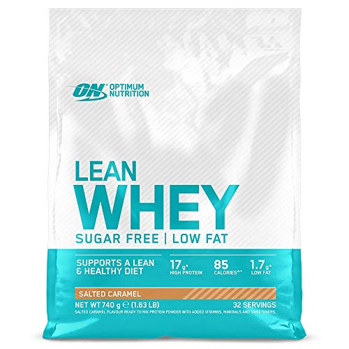 Optimum Nutrition Lean Whey Protein Powder, Low Fat, Sugar Free Lean Protein with Vitamins and Minerals, Muscle Gain, Salted Caramel, 740 g, 32 Servings, Packaging May Vary