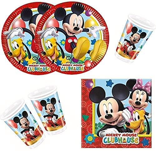 ILS I LOVE SHOPPING Kit Festa Coordinato Tavola Addobbi Party Set Compleanno (Mickey Mouse Topolino Playful, Set 8 Persone)