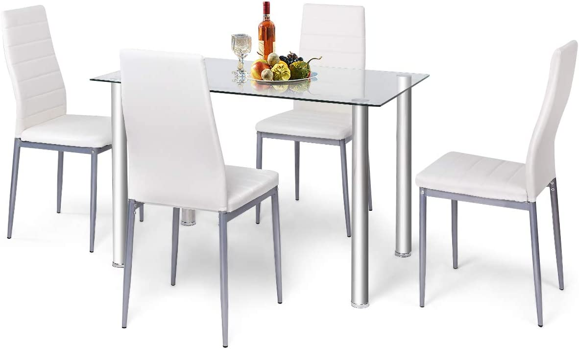 Buy RELAX9LIFE Dining Table Set of 9 with Glass Top and PVC ...