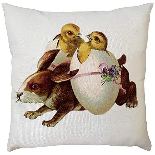 Funda de cojín cuadrada de conejo de Pascua para decoración del hogar para sofá, silla, sofá, dormitorio, fundas de almohada decorativas de 45,7 x 45,7 cm