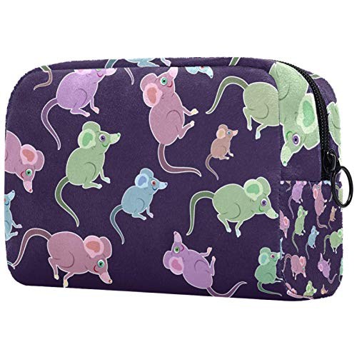 for Women Toiletry Bags Makeup Bag with Zipper Purple Green Blue Mice Pattern Travel Cosmetic Organizer