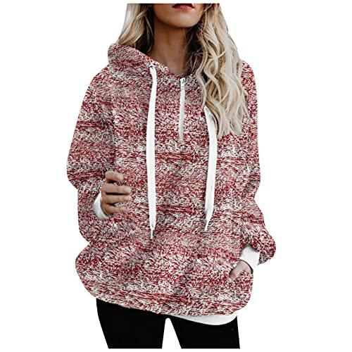 URIBAKY - Sudadera con capucha para mujer, manga larga con capucha y cremallera, rojo A, M
