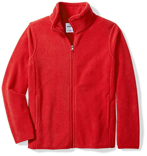 Amazon Essentials Kids Boys Polar Fleece Full-Zip Jacket, Red, Large