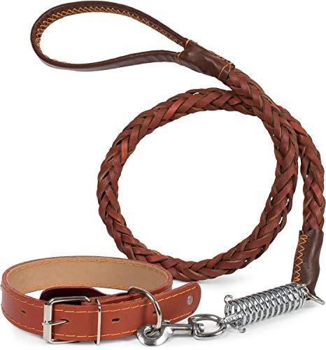 Puccybell HLS003 hondenhalsband van leer met noppen en lijn voor honden (1,2 m) in set, hondenhalsband en gevlochten lijn met schokdemper, Taille M: 33-44cm, Bruin