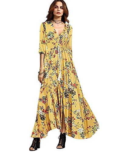 Milumia Women's Button Up Split Floral Print Flowy Party Maxi Dress Yellow Medium