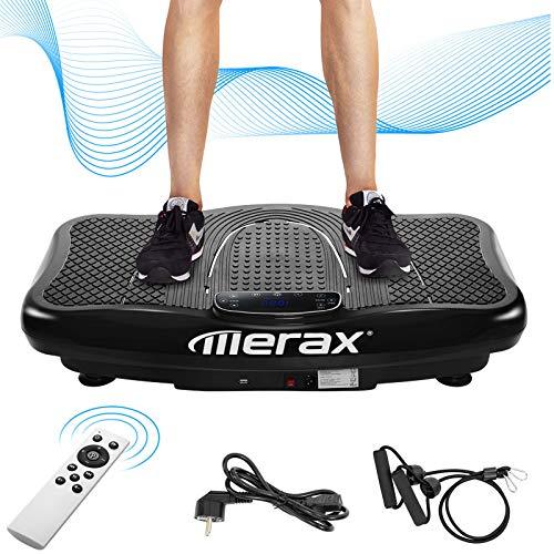 TININ Vibrationsplatte mit Bluetooth-Lautsprecher, 4 Programmmodi, 180 Stufen, 2 Loop-Bänder, 200W Vibrations-Fitnesstrainer für Heimfitness & Gewichtsverlust & Shaping, 150 kg maximale Belastung