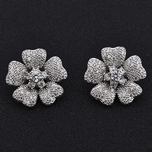 Women's Fashion Cz Crystal Flower Shape Ear Cuff Clip-on No Piercing Earring