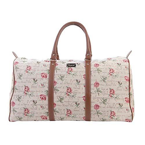 Signare Gobelin-Gepäcktasche für Reisen und Sport/große Reisetasche für Damen Sporttasche Damen mit Blumenmustern (Rose Flower)