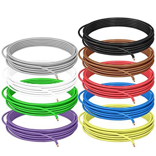 DCSk 1,5mm² - 10m - Fahrzeugleitung FLRY B asymmetrisch Set 9 Farben - 1,50 mm² - KFZ-Kabel-Litze - rot schwarz blau braun gelb grün violett weiß grau - 10 m Ring