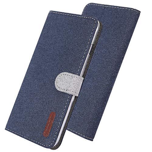 COTDINFOR Samsung Galaxy A70 Funda Protectora Lino Cuero PU Billetera Caso Flip Shell Cierre Magnético Card Holder Carcasa para Samsung Galaxy A70 Cloth Drak Blue YX.
