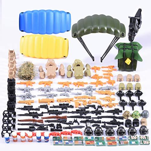 Militär Waffen Set,Teakpeak 240 Stück WW2 Waffen Spielzeug Custom Waffen Set Waffenwesten Rüstungs Fallschirm Kit der Bundeswehr Militär Waffen Spielzeug, Kompatibel mit Lego.