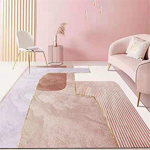 WCCCW Arte Abstracto Color Simple patrón Creativo Suave Antideslizante Oficina de Oficina Mesa de café alfombra-50x80cm para Comedor, Dormitorio, Pasillo y Habitación Juvenil