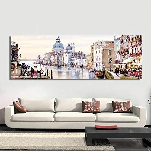 KWzEQ Decoración del hogar Paisaje Abstracto Pintura al óleo Lienzo Arte de la Pared Sala de Estar Vista a la Ciudad,Pintura sin Marco,30x90cm