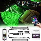 Interior Car Lights Pulilang LED RGB Strip Light 4pcs 48 Led Multicolor Interior Atmosphere accent lighting Kits, Two-Line Design Genuine 3M Adhesive, Phone App+24 Key IR Controller Music Sensor DC12V