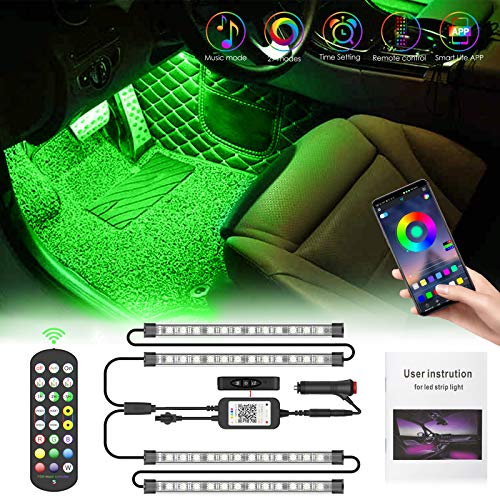 Pulilang LED Auto Interni Striscia Led Auto Luci Interne | Colorati RGB Sync to Music |APP| Telecomando | Ambiente Striscie Luce Kit per Interni Macchina | Spina Accendisigari 12V