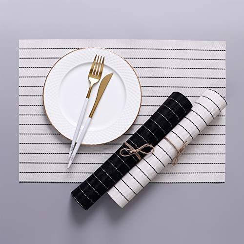 Gestreifte Tischsets, Esstisch Waschbare gewebte Vinyl-Tischsets rutschfeste hitzebeständige Küchentischmatten Leicht zu reinigen,White