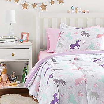 Amazon Basics Easy Care Super Soft Microfiber Kid s Bed-in-a-Bag Bedding Set - Twin Purple Unicorns