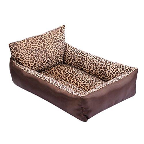 LvRao Haustierbett Kissen Hundebett, Katzenbett Rechteckig Hundehaus Tragbar Hundematte Kätzchen Hundesofa (Leopard, 65 * 55 * 14CM)