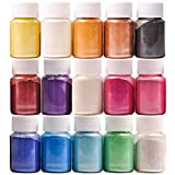 Mica Powder, 15 Colors Pearl Powder Resin in Bottle, Pigment Supplies for Paint/Soap Making/Bath Bomb DIY/Candle Making/Artist/Craft Projects/Fine Arts(10g/0.35oz)