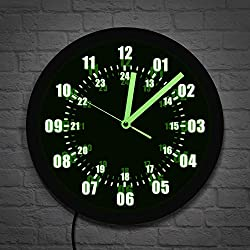 The Geeky Days Military Time 24 Hours Display Neon Sign Wall Clock with LED Backlight Military World Time Zone Amateur Neon Sign LED Wall Clock