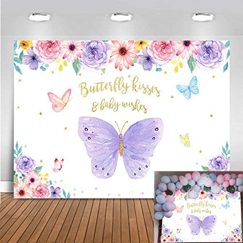 Mocsicka Butterfly Birthday Backdrop Girls Princess Watercolor Pink and Purple Floral Baby Shower product image