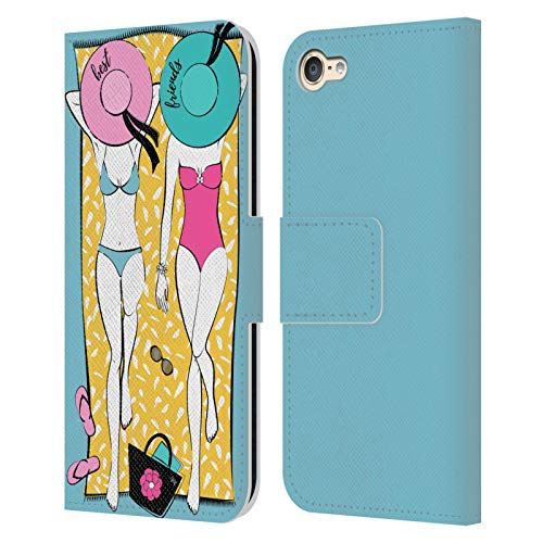 Head Case Designs Officially Licensed Martina Illustration Summer Friends BFF Leather Book Wallet Case Cover Compatible with Apple Touch 6th Gen / Touch 7th Gen