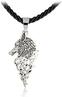 AILUOR Collar nórdica Cabeza del Lobo Colgante Ajustable