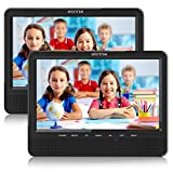 WONNIE 10.1'' Dual Screen Portable DVD Player for Car with Built-in 5 Hours Rechargeable Battery, Twin Screen...