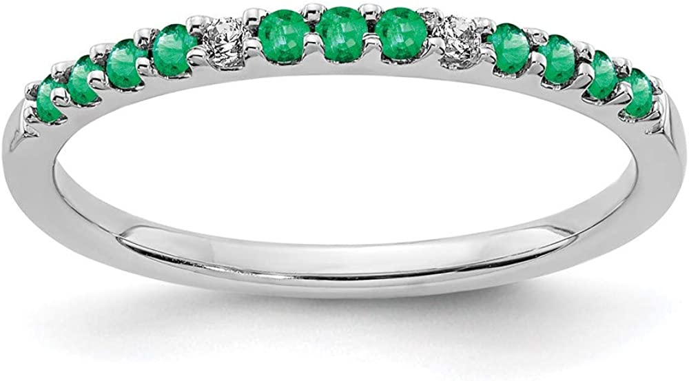 14k White Gold Diamond Green Emerald Wedding Ring Band Size 7.00 Stone Birthstone May Gemstone Fine Jewelry For Women Gifts For Her