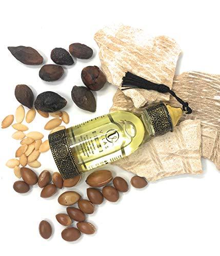 Arganöl Bio 125 ml kaltgepresst für Haare, Gesicht sowie trockene Kopfhaut I Handgemachte Flasche aus Marrakesch, Limited Edition I Pur Argan oil & 100% vegan I Deutsches Unternehmen