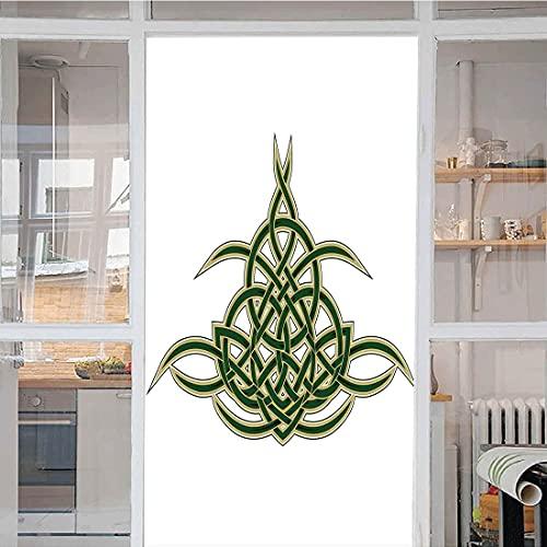 Celtic Window Privacy Film, Original Celtic Shield Icon Gothic Design Abstract Scotland Medieval Style Art Light Blocking Frost Door Glass Window Sticker L17.7 x H23.6 inch Green Golden