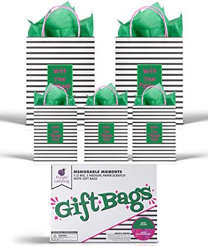 Purple Ladybug 5 Bolsas Regalo (2 Tamaños) con Asas y Exclusivo Papel de Rascar Verde - 2 Bolsas Papel Grandes y 3 Medianas para Regalos Personalizados y Regalos de Cumpleaños - Patente en Trámite