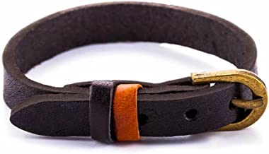 Zen Styles Men's Leather Bracelet, Cuff Wristband with Brass Belt Buckle Closure, Premium Quality Genuine Leather, Adjustable to 9