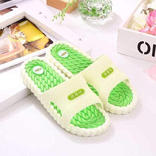 CCJW Zapatillas de casa con dedos abiertos, antideslizantes domésticas para interior/baño de masaje, color verde fruta, 44, zapatillas de casa con dedos abiertos kshu