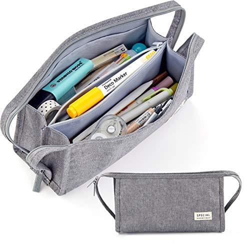 ペンケース ペンポーチ ペン入れ 筆箱 筆入れ 大容量 ペンバッグ ペン袋 収納バッグ ストライプ 小物整理 持ち運び便利 多機能 軽量 男の子 女の子 子供 小学生 中学生 高校生 大学生 社会人用 グレー
