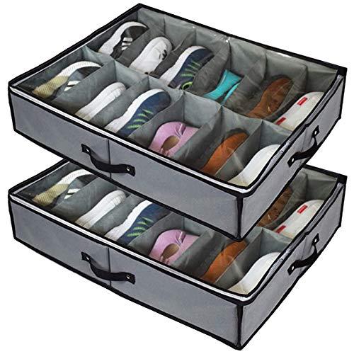 Senmubery Organizador para zapatos bajo la cama, 2 pares de 24 pares de cajas de almacenamiento con tapa transparente